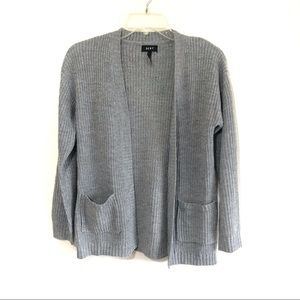 DKNY open front cardigan silver knit gray